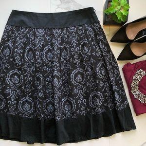 Ann Taylor LOFT Midi Black And Grey Skirt